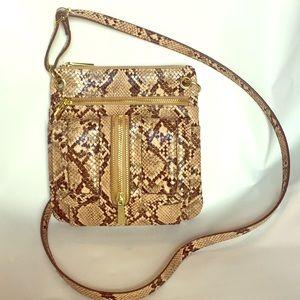 Python print cross body bag with gold hardware